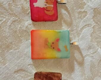 Choice of Dog alcohol ink tye dyed Rummikub Game Piece Pendant