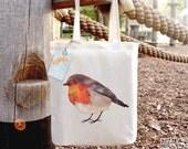 Robin Tote Bag, Ethically Produced Reusable Shopper Bag, Cotton Tote, Shopping Bag, Eco Tote Bag