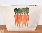 Carrots Canvas Wash Bag, Large Zipper Pouch, Makeup Bag, Toiletry Bag, Accessory Bag