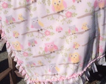 Fleece Blanket - Owls on Cream White with Woven Edge