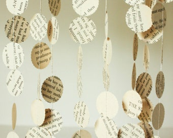 Paper Garland, Book Page, Party Decoration, Wedding Garland, Literary Theme, Paper Party Decorations, Made to Order, 10 feet long