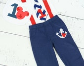 THREE PIECE SET: Sailor Mickey Mouse Inspired Birthday Tie Suspender Bodysuit with Pants and Bib, Baby Boy First Birthday Little Man Outfit