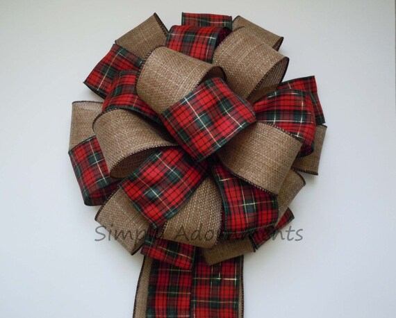 Country Christmas Plaid Bow Cottage Red Green Tartan Christmas Tree Bow Red Green Tartan Cabin Winter Holidays Bow Plaid Wreath Swag Bow