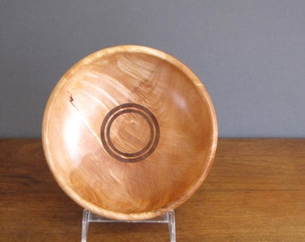 Maple wood salad bowl, wood turning, brown & tan colored wood bowl