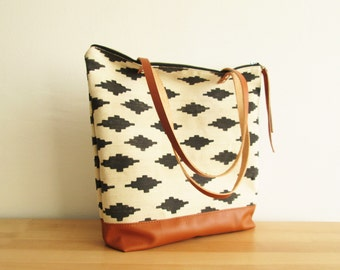 Large Tote bag, Casual tote, Everyday Tote, School bag, Shopper, Toffee, Tribal print, Ikat