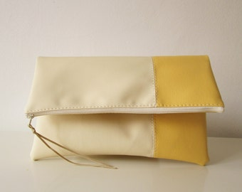 Clutch purse, Clutch bag, Foldover clutch, Color Block, Cream and Pastel yellow, Ivory clutch, Pastel