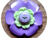 Lilac and apple green, flower button brooch