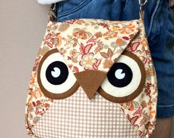 Brownie: Flip Bag, Owl Bag, flower, messenger bag, tote, animal, women, kid bag, children bag, fabric bag, girl bag, boy bag, flowery, cream