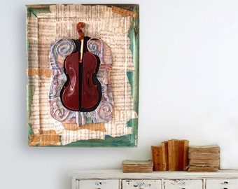 Violin,  Mixed  Media Original, Wall Art , Red Violin
