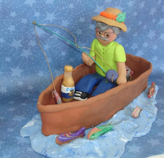 Fisherman Fishing Boat Cake Topper Bait Can Handcrafted ...