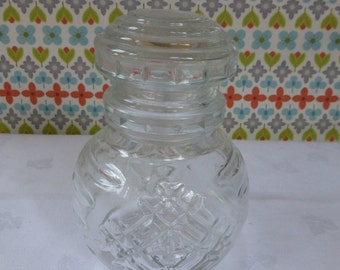 a delightful vintage glass storage jar - glass storage jar - vintage glass bottle - vintage pressed glass - kitchenalia