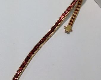 Vintage Garnet Tennis Bracelet in 14K Gold