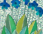 """Wall Art """"Blue Flowers"""". Watercolor Painting , Mixed Media"""