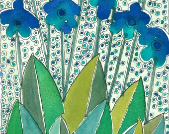 "Wall Art ""Blue Flowers"". Watercolor Painting , Mixed Media"