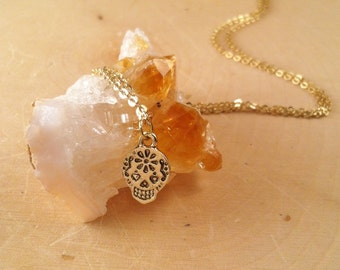 Gypsy Jewelry - Skull Necklace - Sugar Skull Jewelry - Gold Chain Necklace - Cute Simple Necklace - Calavera Necklace