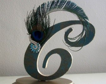 Wedding Cake Topper, Custom Monogram Letter C, Peacock Feather Topper, Teal Cake Topper, Gatsby, 1920's or Art Deco Wedding, Wedding Gift