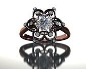 Black Rose Diamond Ring 14K Gold