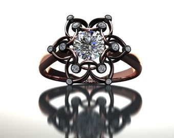 Black Rose Diamond Ring 14K Gold