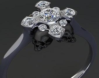 Gothic Cross and Black Skulls Diamond Ring 14K Gold