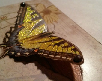 Beautiful Butterfly / 3D Wings / Art Adhered To Wood / Handmade Fridge Magnet Or Picture Plaque With Rusted Tin Wire Hanger