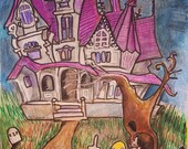 Spooky Vintage 1950s Horror Haunted House. Halloween Illustration.