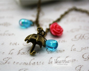 rainy day necklace vintage love raining umbrella bronze rain drop rose cute charm retro pendant jewellery accessory
