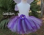 Purple fairy tutu set, Birthday tutu set, fairy halloween costume