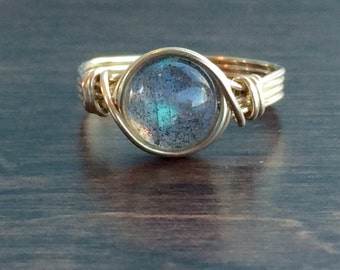 ON SALE Labradorite Wire Wrapped Ring, Labradorite Gemstone Ring, 14k Gold Filled Ring, Any Size