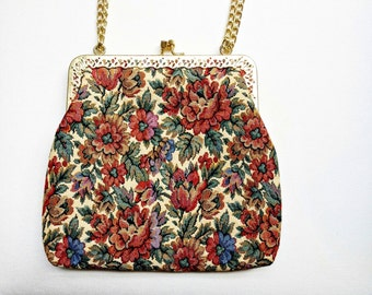 Vintage 60s floral faux tapestry purse/ golden threads/ La Regale/ Handmade/ Filigree frame/ / red blue roses peonies