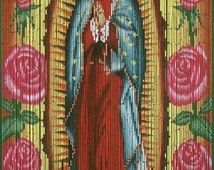 Hand painted beaded bamboo curtain virgin of guadalupe for Hand painted bamboo beaded curtains