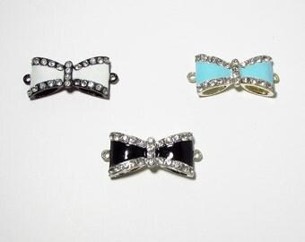 Bow Rhinestone Connector Beads 16mm x 35mm