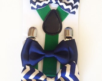 Suspender & Bowtie set Navy Blue bowtie and Suspenders Navy Blue Boys Bowties Chevron Toddler Necktie Men bowtie Wedding Ring Bearer Outfit