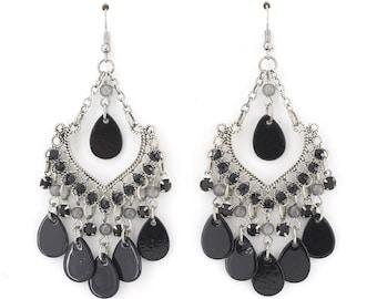 Special Bohemian Black Beads Dangle Chandelier Earrings,F4