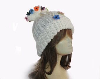Hat,Hand knit hat, cream Knitted Beanie, Cozy Hat, Knitted Fashion Hat,colorful flowers,Knitted Cap,Valentine's Day,winter hat,womens hats