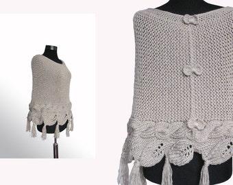 Knit poncho ,Hand knit capelet, Fingerle gloves ,cable knit poncho,Striking cable stripes,Cable knit poncho,women poncho,valentine's gift