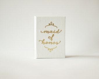 Vow Holder™ Pocket Sized Maid of Honor Speech Silk Folio Keepsake - Gold Foil Speech Holder