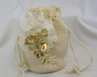 Knitted Lace Draw String Bridal Pouch Bag Frozen Fruit Grapes & Gears Wedding Cream White Sack Purse Steampunk Gypsy Modified Customized