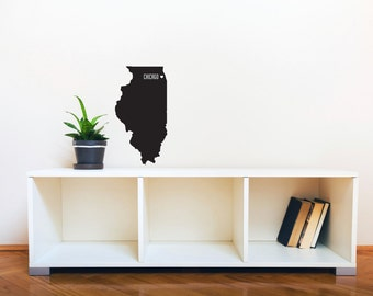 State with City Name and Heart - Wall Decal Custom Vinyl Art Stickers