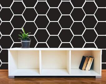 Hexagon Honeycomb Wall Pattern Decals - Wall Decal Custom Vinyl Art Stickers