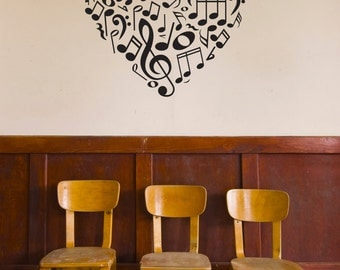 Music Icons Notes and Symbols Heart - Wall Decal Custom Vinyl Art Stickers