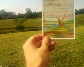 P77 - Abstract Trees Live Painting Art Postcard