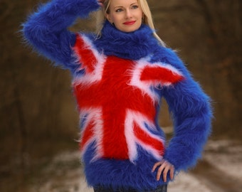 Fuzzy hand knitted Union Jack mohair sweater by SuperTanya