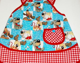 Apron-Full-Girls Size 8 with Dogs