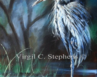 Blue Heron, Patience Is A Virtue, print from my original oil painting of a blue heron on the coastine of a midwestern lake