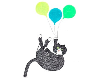 Funny Cat Gift Cards - Black and White Cat/Tuxedo Cat with Balloons