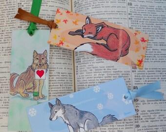 animal bookmark set of 3 - wolf fox dog - woodland illustration - artwork drawing