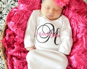 Baby Girl Coming Home Outfit Monogram Personalized Damask Baby Girl Clothes Headband or Beanie Hat Options Newborn Baby Girl Gift Set