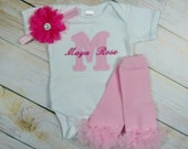 Baby Girl Clothing Monogram Bodysuit Or Gown Leg Warmers Headband Options Baby Newborn Coming Home Outfit Pink Hot Pink New Baby Gift