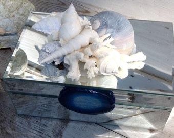 Mirrored Seashell Box/Mirror Jewelry Box/Vanity Seashell Box