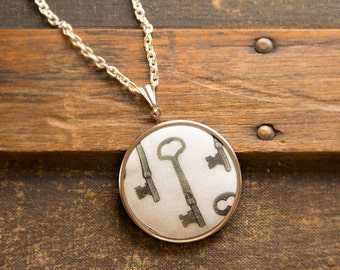 Photography Necklace, Wearable Jewelry Art, Skeleton Key Photograph, Steampunk Victorian, Photo on Fabric, Pendant Necklace